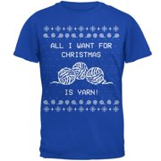 I Want Yarn Knitting Ugly Christmas Sweater Mens Soft T Shirt Royal MD