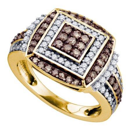 10K Yellow Gold 1.00CT Shared Prong Brown & Round Cut Diamond Fashion Ring