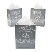 Two Heart Welcome Wedding Gift Bag (Dz) - Party Supplies - 12 Pieces