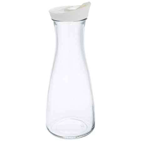 Grant Howard 1 Liter Beverage Glass Carafe Decanter with White Screw Top, Clear