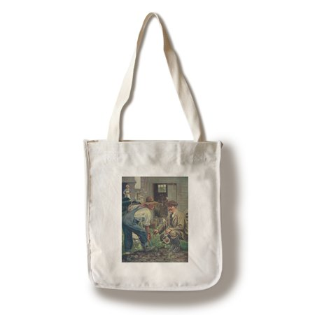 National Sportsman   Man Gathering Worms For Fishing  Talking With Farmer  Farmers Wife  100  Cotton Tote Bag   Reusable