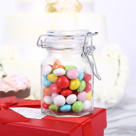 Efavormart 4oz Wholesale Clear Hexagon Glass Jars For Candy Beverage Favor With Flip Lid - 12 jars
