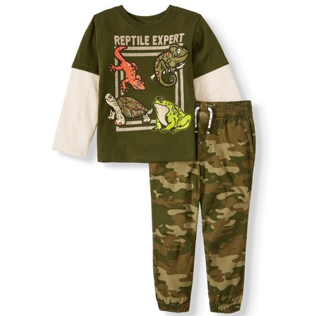 Garanimals Long Sleeve Hangdown Graphic T Shirt & French Terry Joggers, 2pc Outfit Set (Toddler Boys)