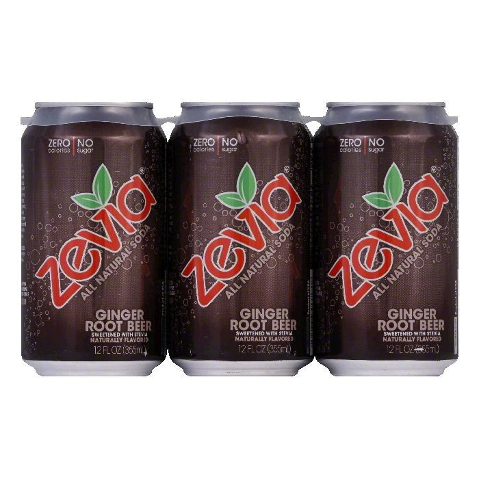 Zevia Zero Calorie All Natural Soda, Ginger Root Beer, 12 Fl Oz, 6 Count