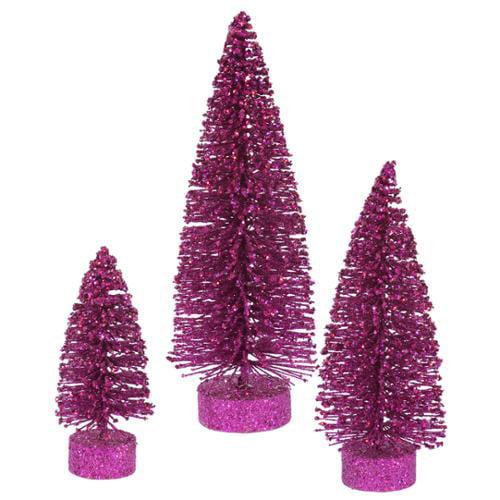 Set of 3 Magenta Glittered Bottle Brush Artificial Christmas Tree Decorations