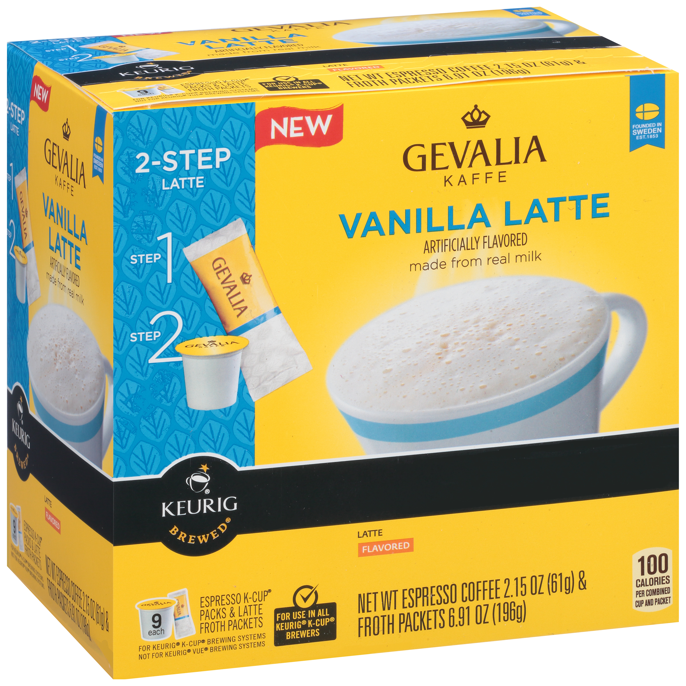 Gevalia Vanilla Latte Espresso Coffee K-Cup® Packs & Froth Packets 9 ct Box