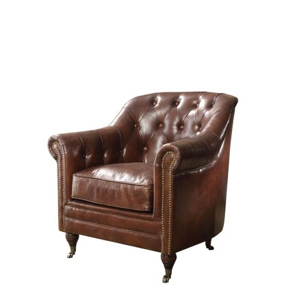 ACME Aberdeen Chair, Vintage Dark Brown Top Grain Leather