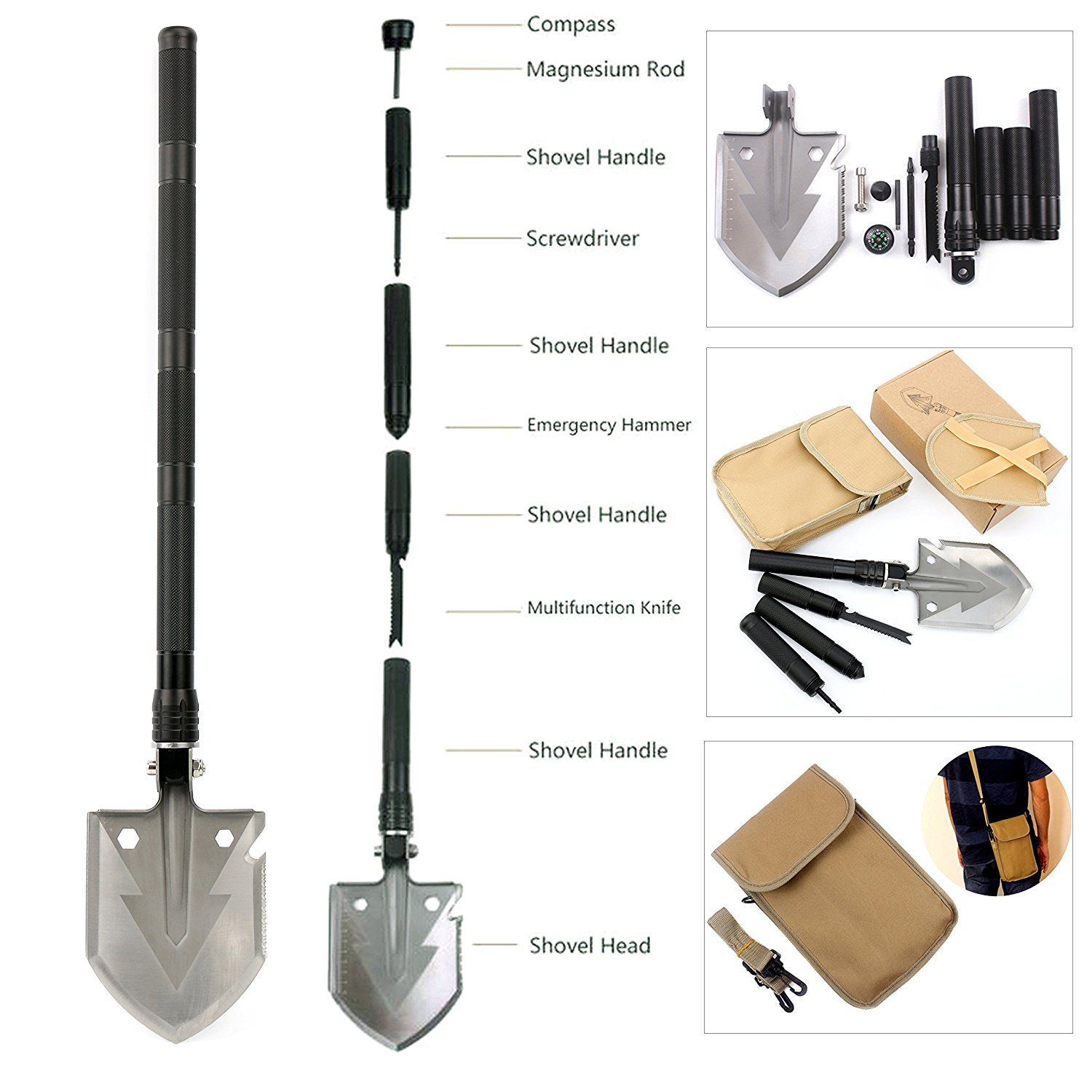 YaeTact Folding Shovel Camping Tool Military Tactical Multifunction Outdoor Survival Spade by