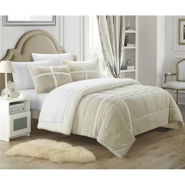 Chic Home CS1993-US Cindy Mink Sherpa Lined X-Long Comforter Set - Silver - Twin - 2 Piece