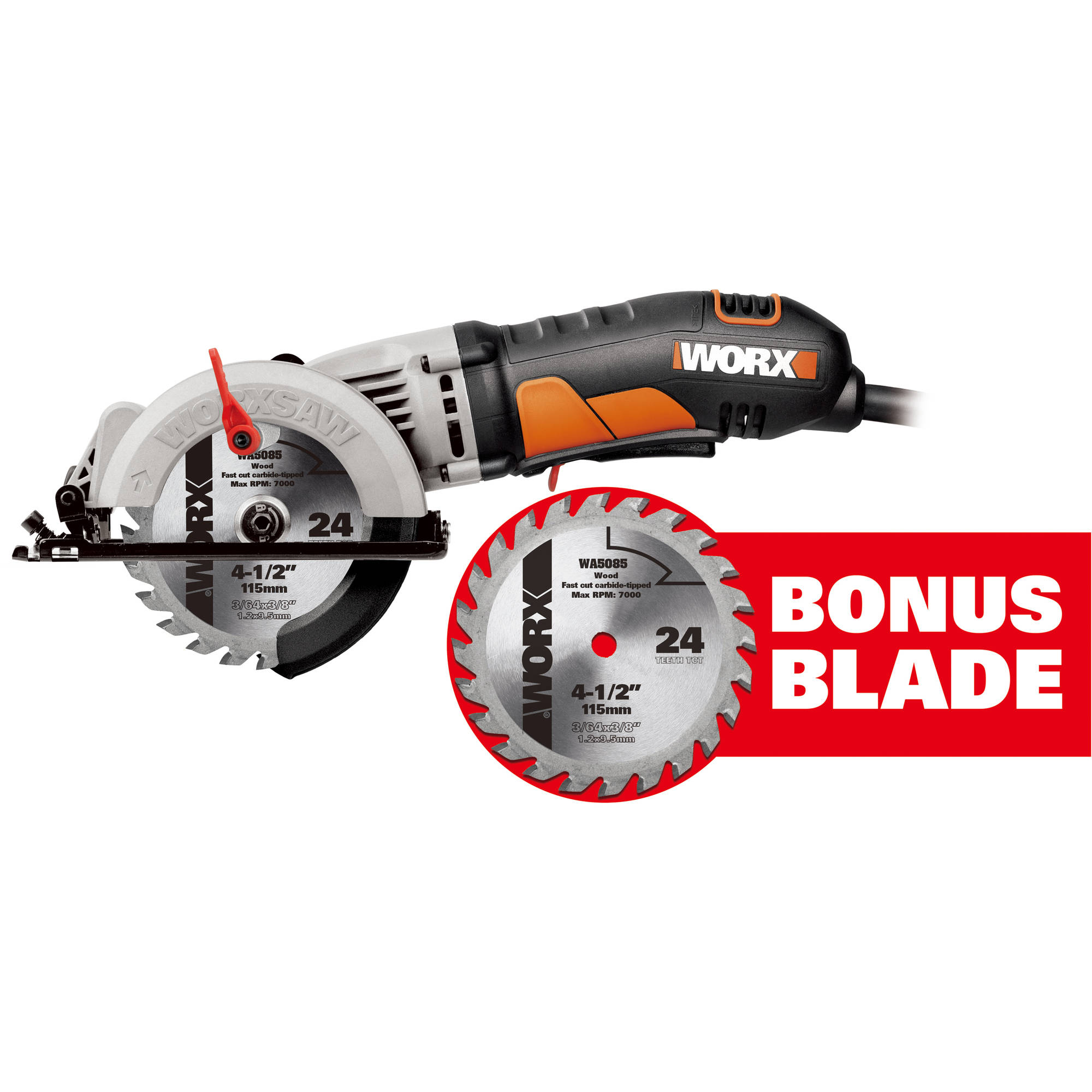 "Worx 4-1/2"" Compact Circular Saw with Bonus Blade"