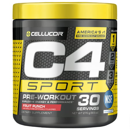 Cellucor C4 Sport Pre Workout Powder, Energy Drink with Creatine Monohydrate & Beta Alanine, Fruit Punch, 30