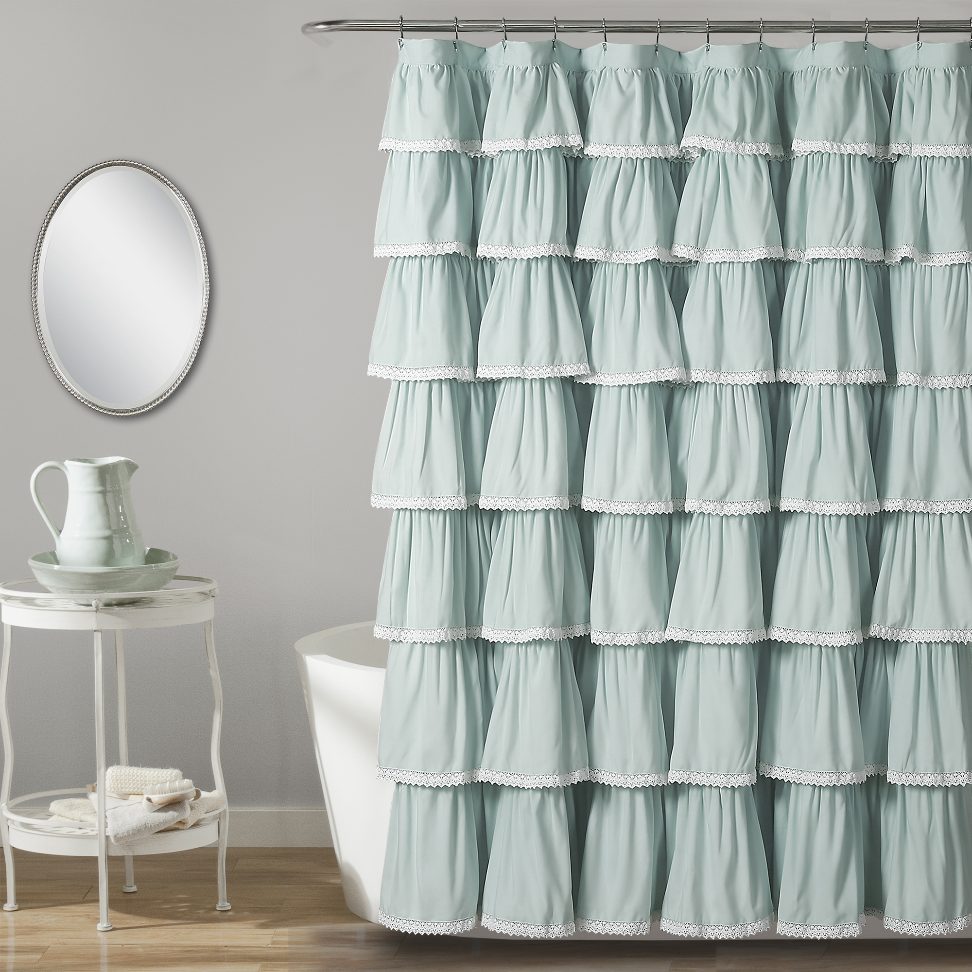 Lace Ruffle Shower Curtain 72x72