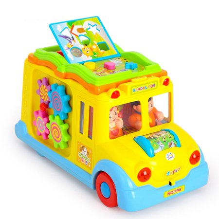 Children Battery Operated Multifunctional Intellectual School Bus, Bump and Go, Music and Light - image 6 of 7