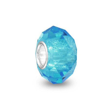 Aqua Blue Faceted Murano Glass 925 Sterling Silver Core Spacer Bead Fits European Charm Bracelet For Women For -