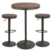 Dakota 3-Piece Industrial-Farmhouse Pub/Dining Set in Grey and Brown by LumiSource