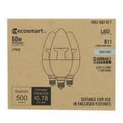 EcoSmart 60-Watt Equivalent B11 Dimmable LED Light Bulb Daylight (3-Pack)