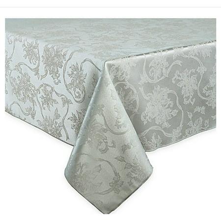 Christmas Ribbons Platinum Silver Gray Damask Fabric Tablecloth 60 x 84 Rectangle