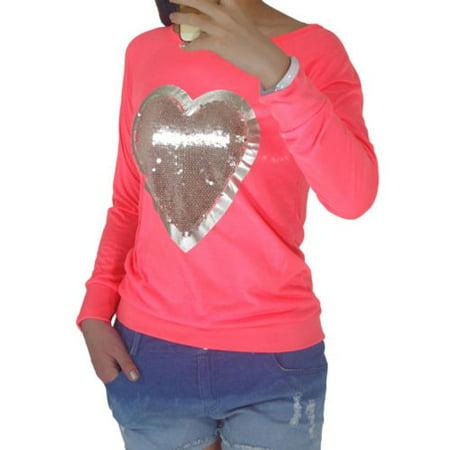 Yellow Sequin Top (Women Casual Long Sleeve Sequins Glitter Heart Blouse T Shirt Sweatshirt Tee)