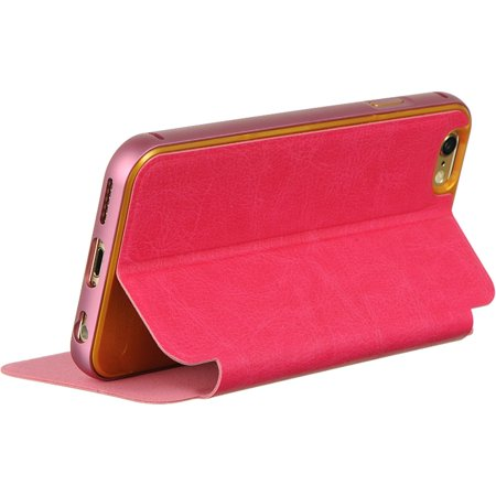 Insten With Removable Bumper Book-Style Leather Fabric Case w/stand for Apple iPhone 6 / 6s - Hot Pink - image 3 of 5