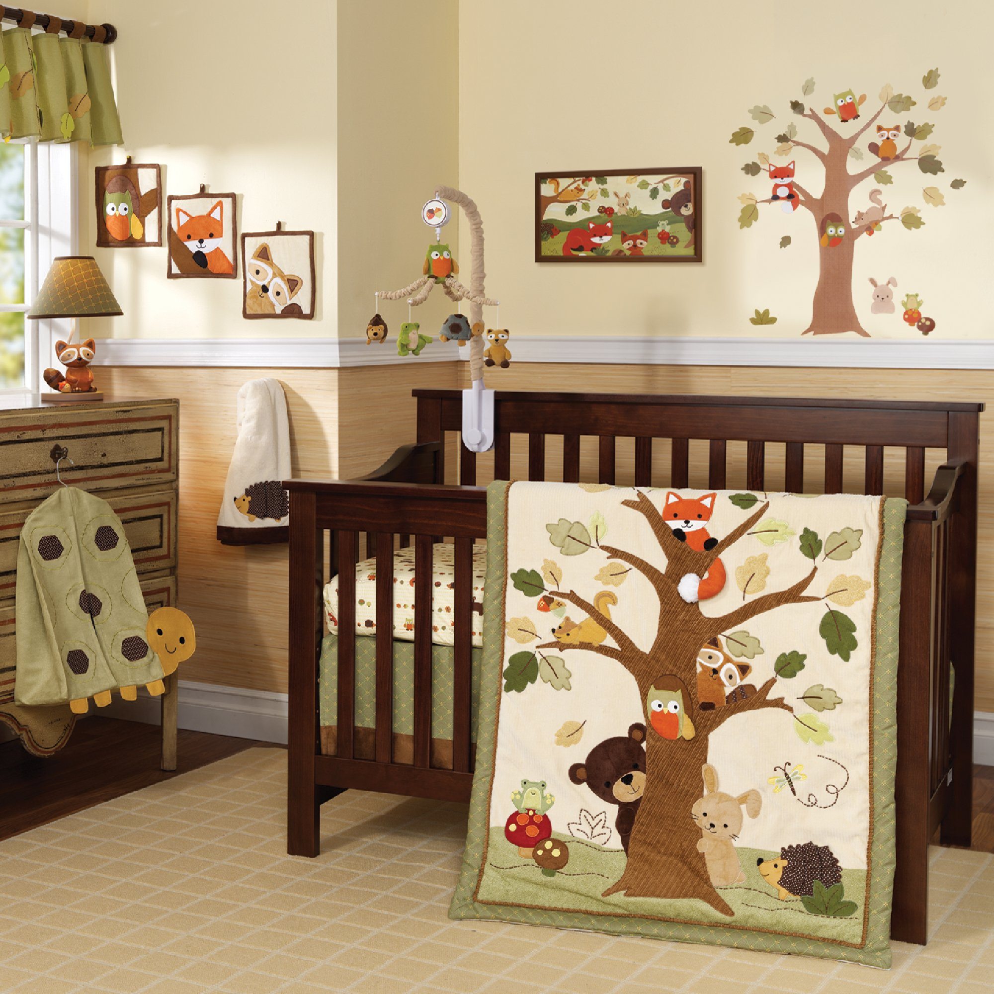 Lambs & Ivy Echo 9-Piece Crib Bedding Set - Brown, Beige, Green, Animals, Tree