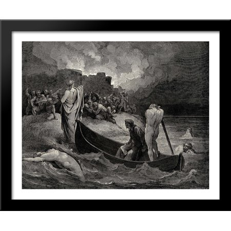 The Inferno, Canto 8, lines 110'111: I could not hear what terms he offerÆd them, But they conferrÆd not long 34x28 Large Black Wood Framed Print Art by Gustave