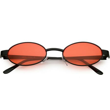 9fdc22fef3 sunglass.la - Retro Small Oval Sunglasses Metal Arms Color Tinted Lens 48mm  (Black   Red) - Walmart.com