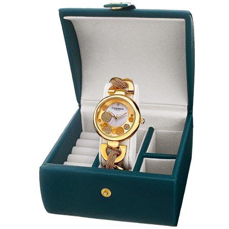 Akribos XXIV  Women's Quartz Bracelet Watch + Jewelry Box 14k Quartz Jewelry Box