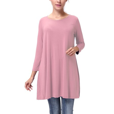 SAYFUT Long Sleeve Shirts Empire Waist Tops Women's Tunic Top Long Length Maternity Dress (Empire Waist Maternity Tie)