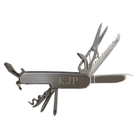 Personalized Monogrammed Stainless Steel Gift Boxed Pocket Knife W/ 9 Tools