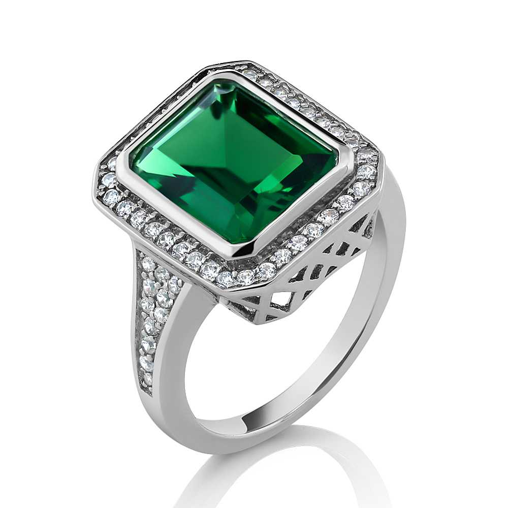 5.00 Ct Vintage Women's 925 Sterling Silver Octagon Cut Nano Emerald Ring