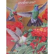 "Hummingbird Trio Garden Flag Spring Welcome Floral Everyday Seasonal  12.5"" x 18"