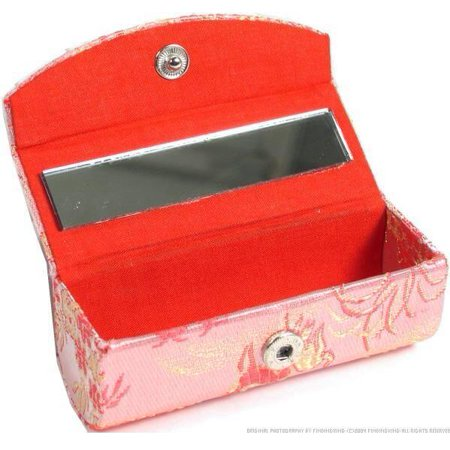 Brocade Lipstick Case & Mirror Cosmetics Makeup Compact