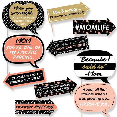 Funny Best Mom Ever - Mother's Day Photo Booth Props Kit - 10 (The Best Wedding Favors Ever)