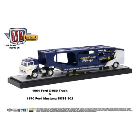 M2 Machines Auto Hauler Release 26 1964 Ford C-950 Truck 1970 Ford Mustang - Mustang Boss Stripes
