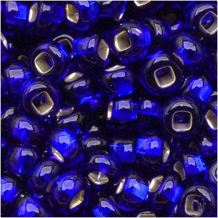 Czech Seed Beads 8/0 Silver Foil Lined Cobalt Blue (1 Ounce) - Lined Czech Seed