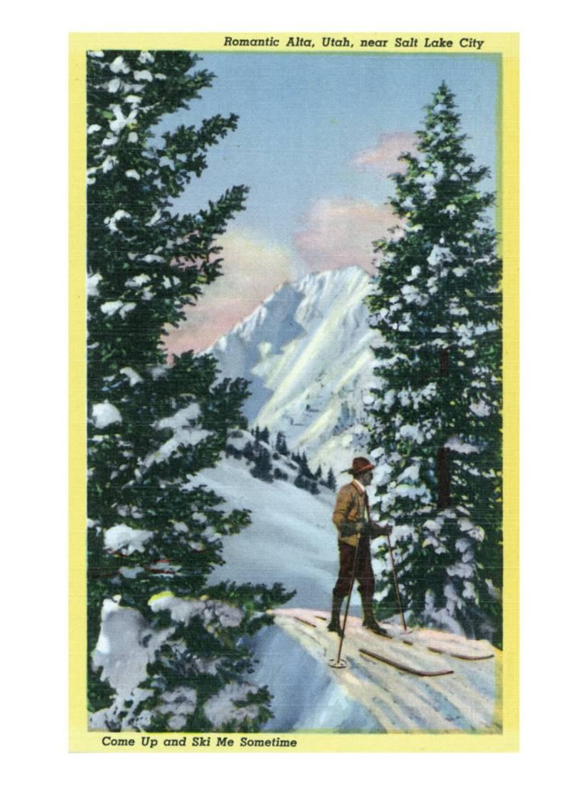 Alta, Utah, Downhill Skier About to Descend Art Print By Lantern Press by Art.com