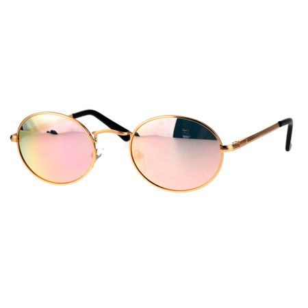 Mens 90s Gangster Rapper Mirror Lens Oval Retro Metal Rim Sunglasses Gold (Retro Rapper)