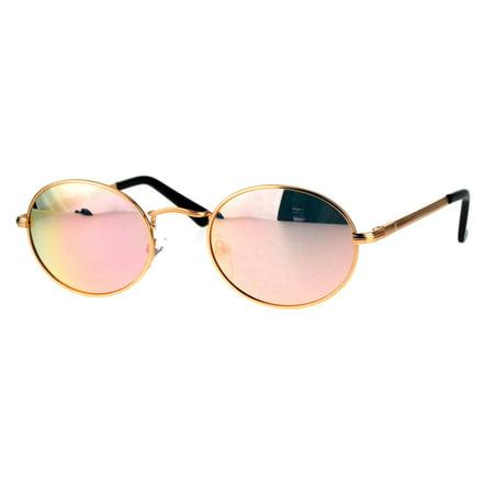 Mens 90s Gangster Rapper Mirror Lens Oval Retro Metal Rim Sunglasses Gold - Gangsta Sunglasses