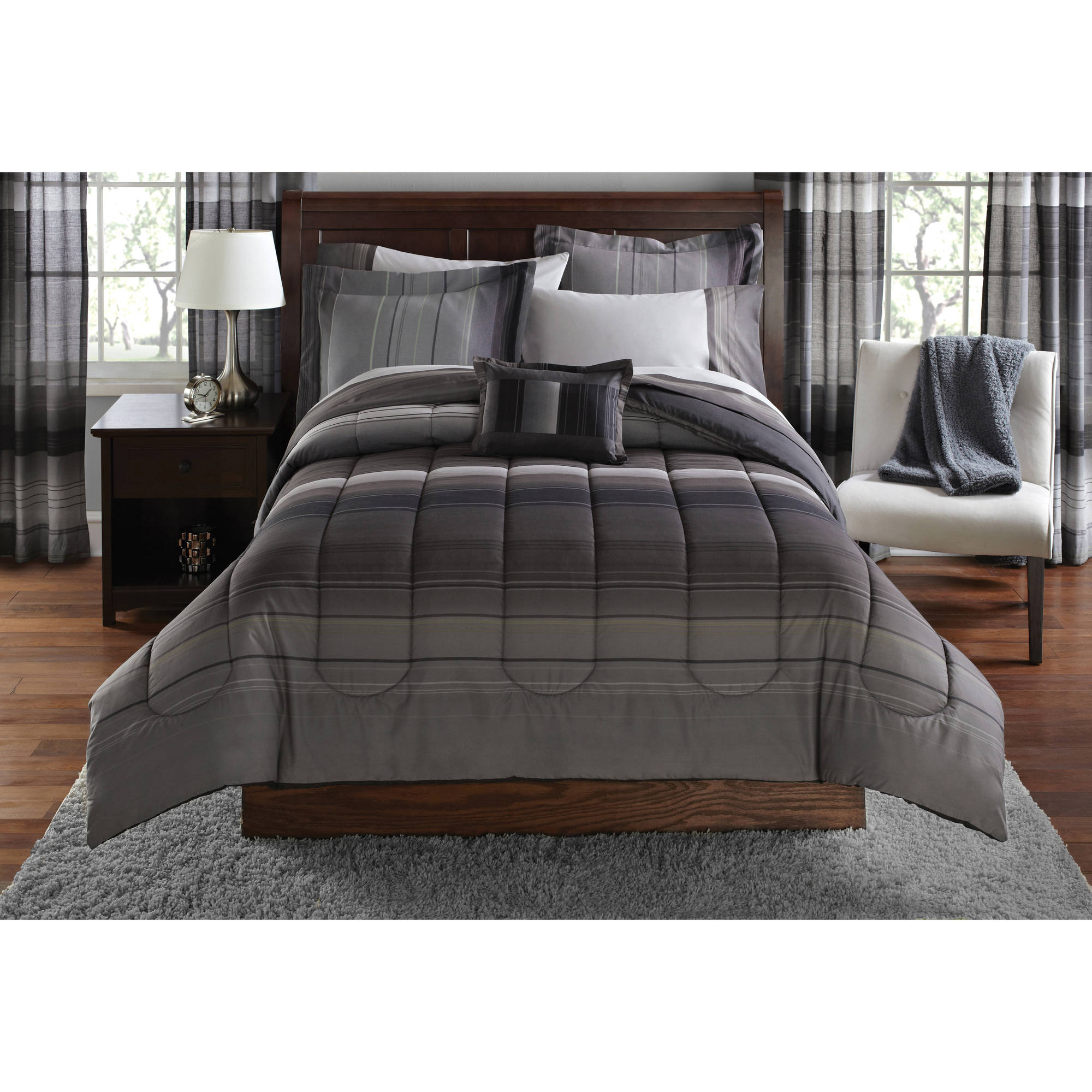 Mainstays Ombre Bed in a Bag Bedding Set with Decorative Pillow
