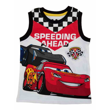Boys With Muscles (Disney Pixar Cars 3 Toddler Boys White Speeding Ahead Tank Top Muscle Shirt)