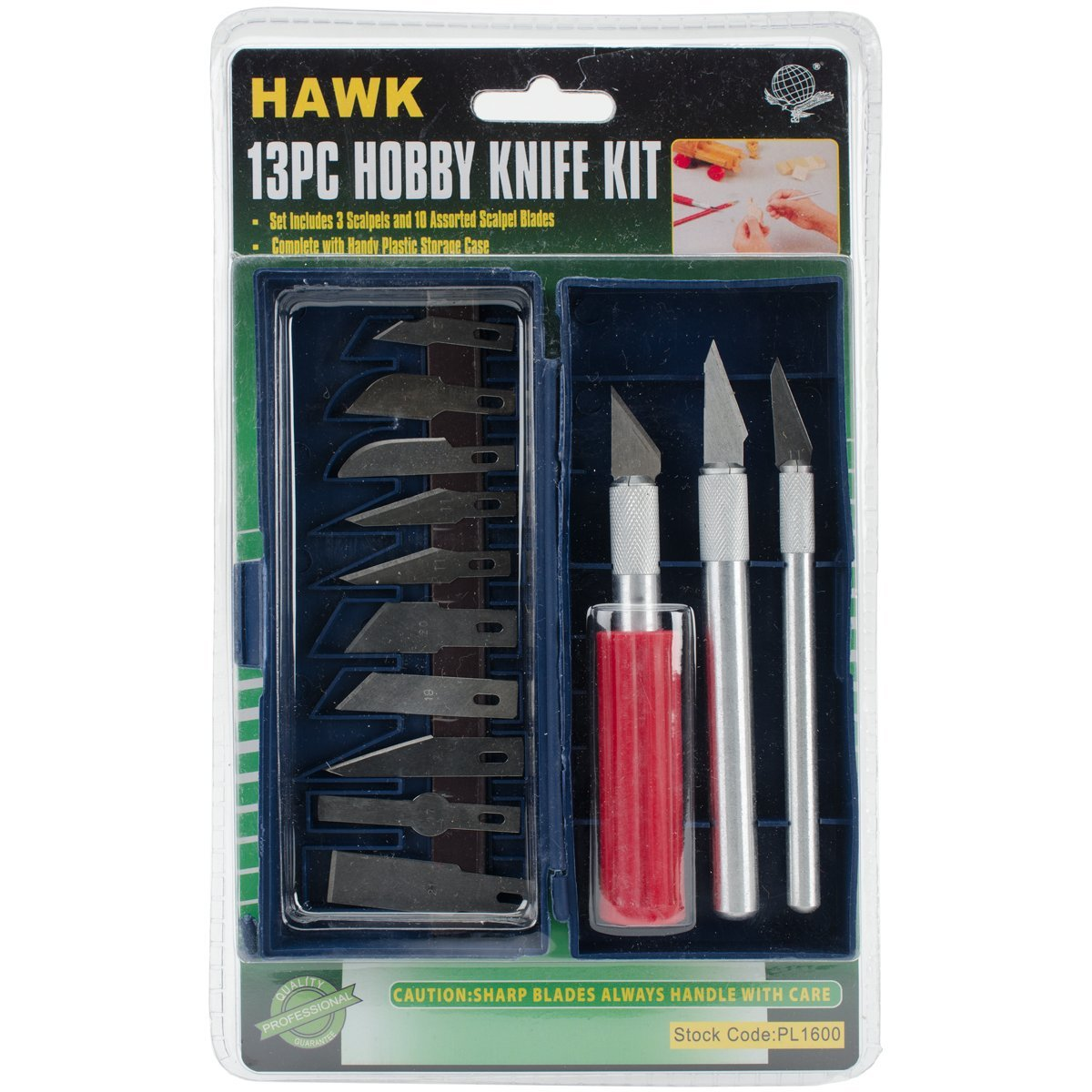 Hobby Knives Knife Set (13 blades, 3 handles)Hobby Knofe Set By Hawk