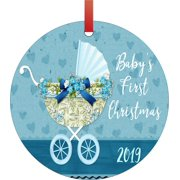 Baby's First Christmas Ornament 2019 Baby Boy Round Shaped Flat Semigloss Aluminum Christmas Ornament Tree Decoration - Unique Modern Novelty Tree Décor Favors