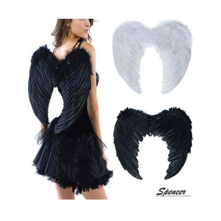Spencer Child Adult Feather Fairy Angel Wings Dress Up for Christmas/Halloween Costume-Black,M