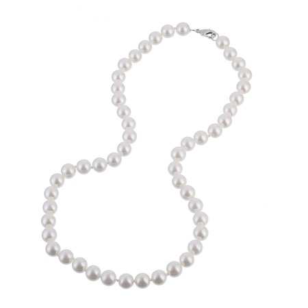 8mm Faux White Pearl Necklace 18