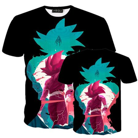 Fancyleo Men Fashion Dragon Ball Z Anime T Shirt Summer Casual Short Sleeve 3D Printing Dragon Ball T-Shirt Tops Dragon Mens T-shirt