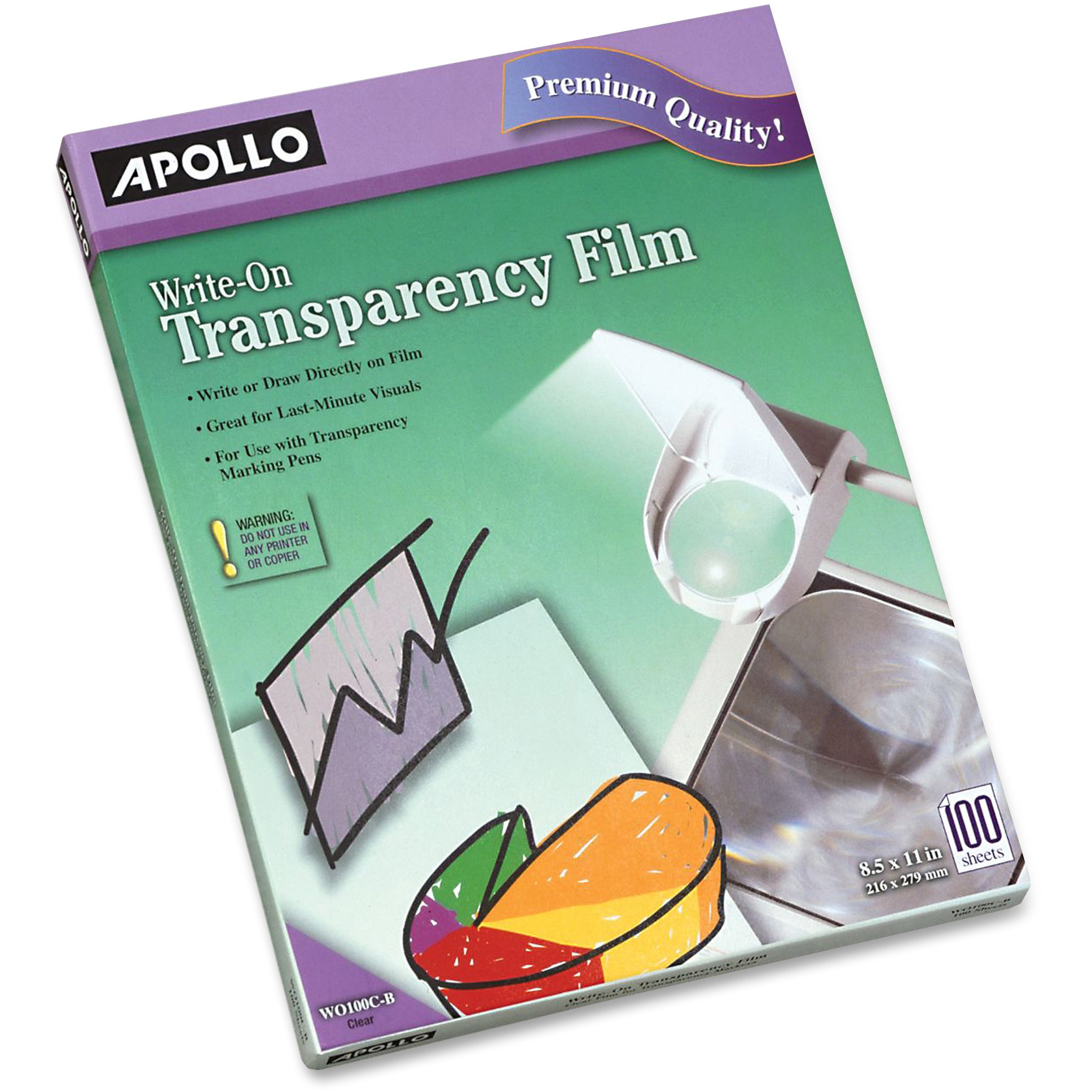 Apollo Write-On Transparency Film, Letter, Clear, 100/Box