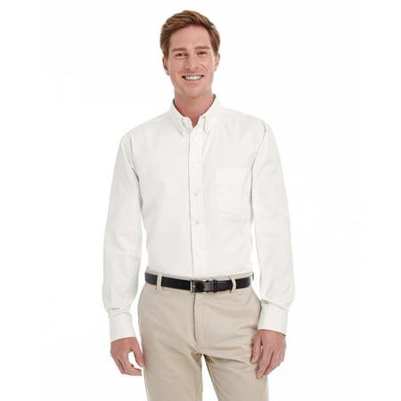 Long Sleeve Teflon Twill Shirt - Branded Harriton Mens Tall Foundation 100% Cotton Long Sleeve Twill Shirt Shirt with Teflon - WHITE - XLT (Instant Saving 5% & more on min 2)