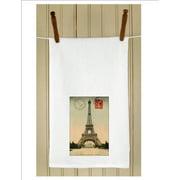 """Set of 3 Antique Style Paris Postcard Stamp Print Flour Sack Kitchen Hand Towels 29"""""""