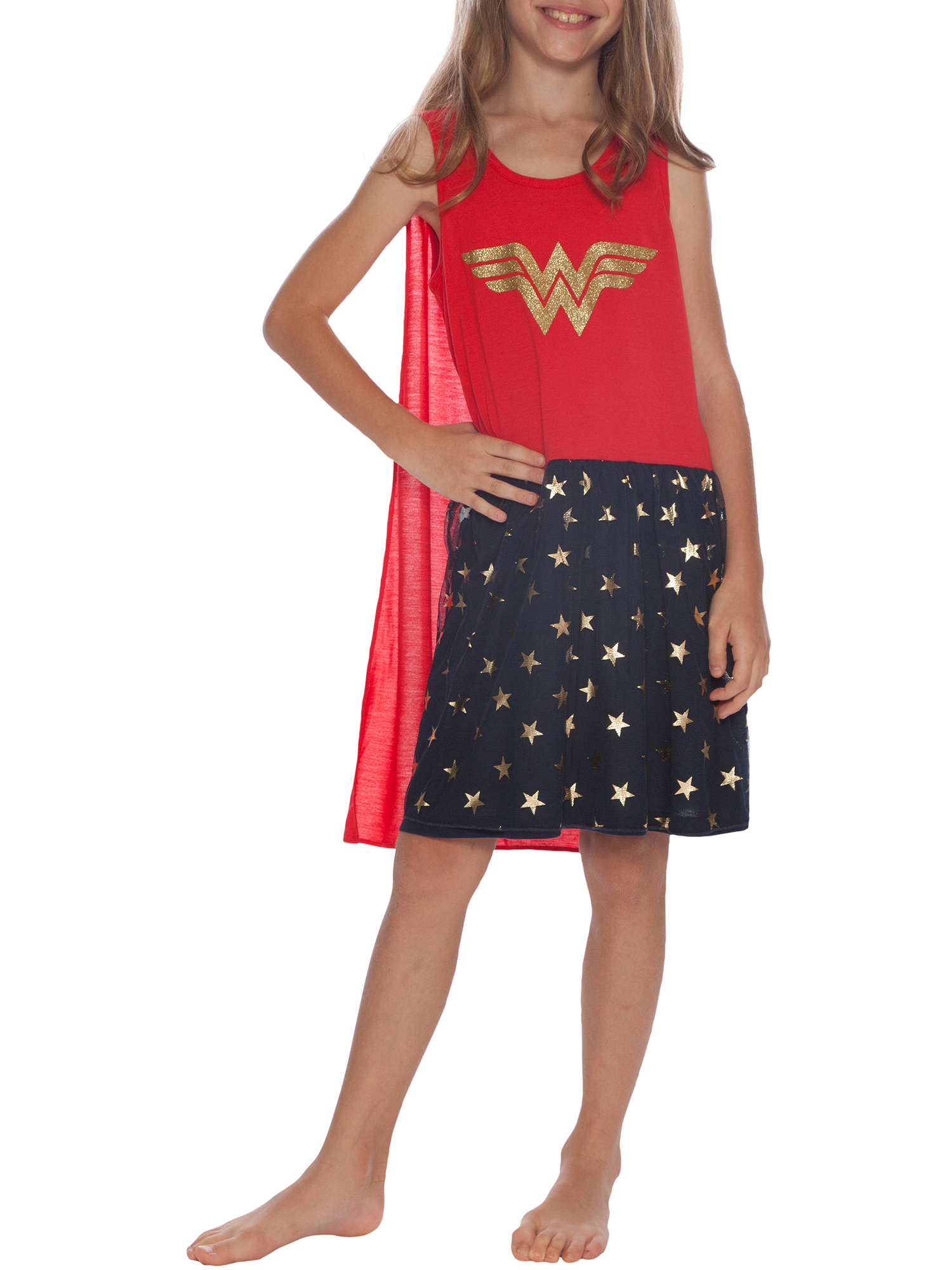 Girls Tank Top Nightgown with Cape