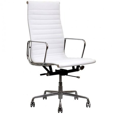 Top Grain Napa Leather - Executive White Leather Office Chair Contemporary Executive White Top Grain Leather Designer Office Chair